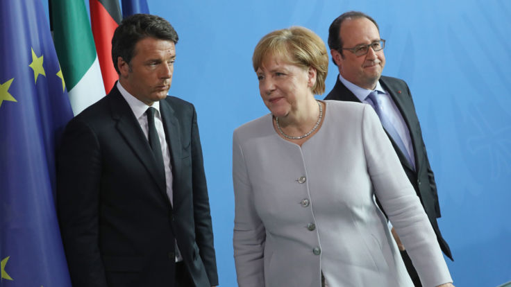 BERLIN, GERMANY - JUNE 27:  German Chancellor Angela Merkel, French President Francois Hollande (R) and Italian Prime Minister Matteo Renzi depart after speaking to the media during talks at the Chancellery on June 27, 2016 in Berlin, Germany. The three leaders are meeting to discuss the consequences of last week's Brexit vote, in which a slim majority of voters in the United Kingdom voted for leaving the European Union, ahead of tomorrow's summit on the matter in Brussels.  (Photo by Sean Gallup/Getty Images)
