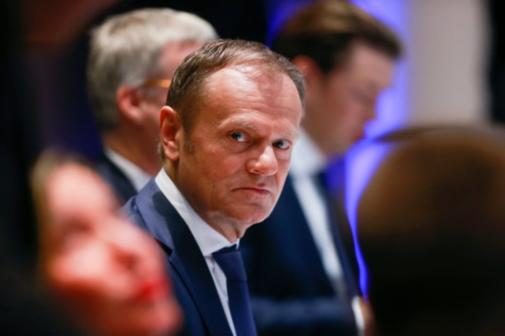 "European Council President Donald Tusk looks on during a meeting on the second day of a summit of European Union (EU) leaders at the European Council headquarter in Brussels, on March 23, 2018. European Union leaders will lay the ground on March 23 for the next phase of Brexit talks after British Prime Minister urged them to seize a ""new dynamic"" in the negotiations. / AFP PHOTO / POOL / OLIVIER HOSLET        (Photo credit should read OLIVIER HOSLET/AFP/Getty Images)"