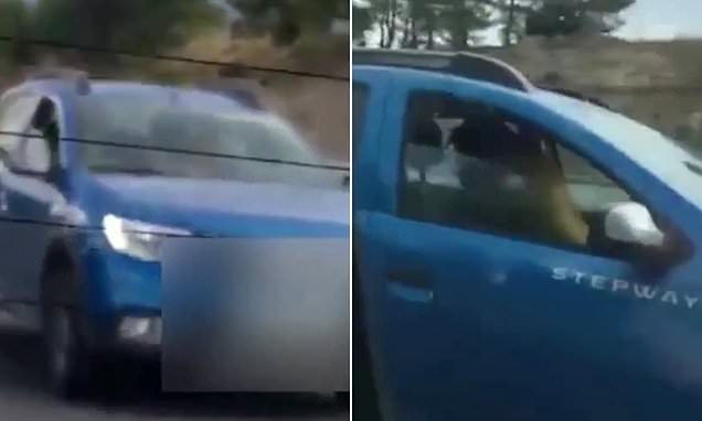 Couple filmed having sex while DRIVING along Spanish motorway
