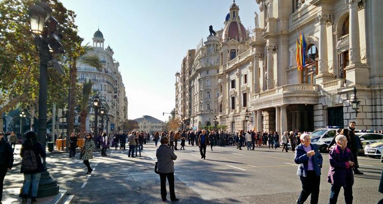 Pedestrian valencia city hall plaza